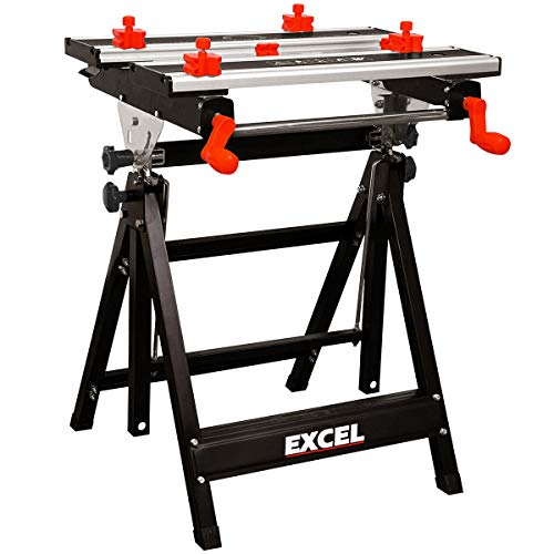 Excel Portable Folding Tilting Workbench Stand Height Adjustable 8 Sliding Clamp