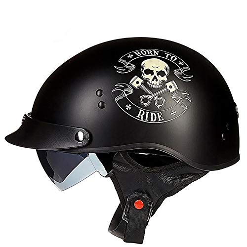 YAJAN-helmet Jet Vintage Helm Motorrad,DOT Zertifiziert Integriertem Sonnenvisier UVschutzbrille Schnellverschluss für Herren Damen Pedallokomotive Cruiser Roller Chopper Pilot 57-64cm