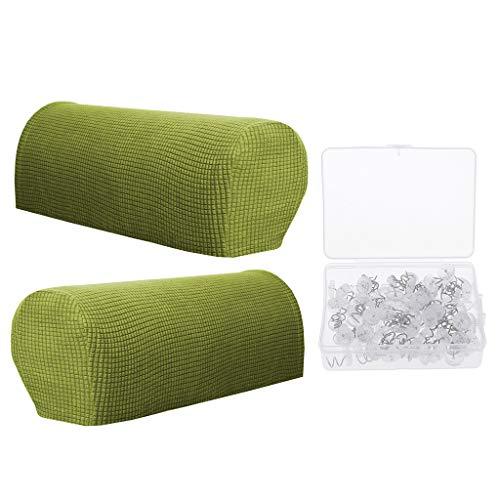 Homyl 2pcs Armlehnenschoner Sesselschoner Sesselhusse Sesselüberwurf mit Polsterspirale für Sofa Couch, Farbwahl - Grün