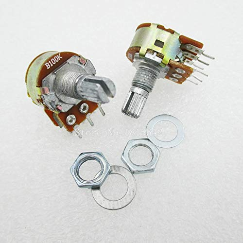 5PCS/LOT Dual-Stereo-Potentiometer-Topf B100K 100K linear Welle 15mm 6Pin WH148 Ohm R Verstärker hohe Qualität