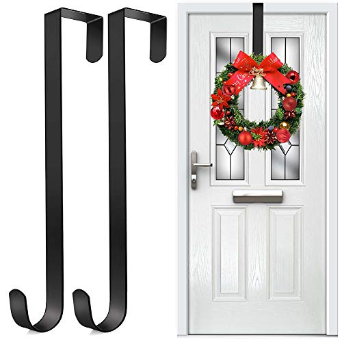 Wreath Hanger for Christmas Door Decoration, 2 Pack 15' Black Metal Wreath Door Hangers for Front Door, Over the Door Hooks Holder for Hanging Ornament Garland Halloween Christmas Wreaths Decorations