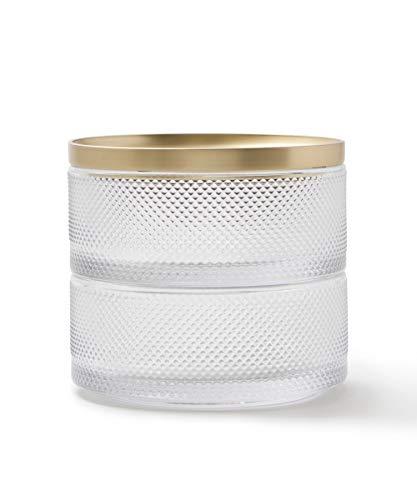 Umbra Tesora Schmuckkasten – Stapelbare Schmuckdose zur Aufbewahrung und Ablage von Ringen, Ohrringen, Ketten, Uhren, Armbändern und Accessoires, Metall / Glas