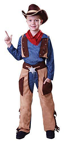 Bristol Novelty- Costume da Cowboy Wild West Ragazzi, Marrone, Medium, 122-134 cm, CC496