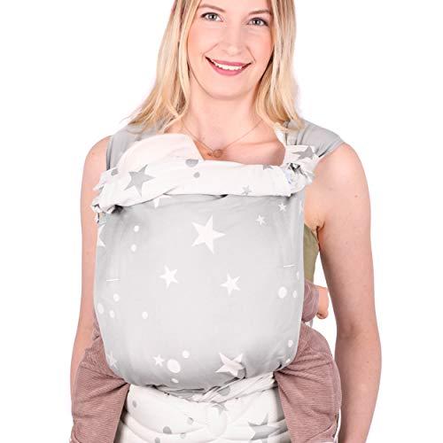 SCHMUSEWOLKE Mei Tai Babytrage Neugeborene und Kleinkinder Mirastar Grey BIO-Baumwolle Babysize 0-24 Monate 3-16 kg Bauch-und Rückentrage