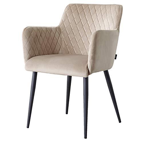 Damiware Rose Stuhl   Design Wohnzimmerstuhl Esszimmerstuhle Bürostuhl mit Stoffbezug   (Samt Taupe)