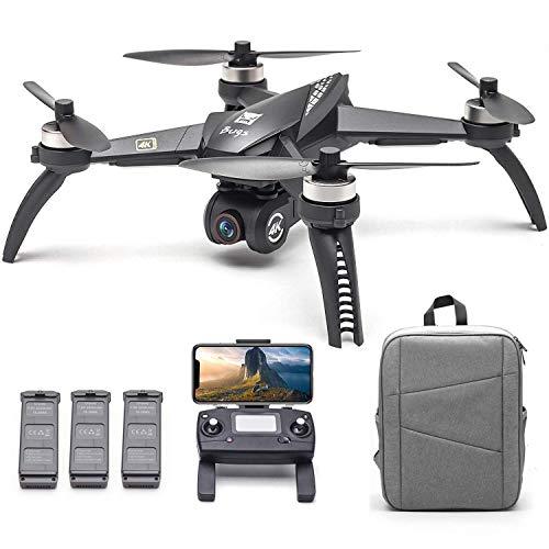 ZHCJH Drone, Bugs 5W B5W RC Drone con cámara 4K Drone 5G WiFi Sin escobillas RC Quadcopter GPS Seguimiento de Vuelo Punto de interés Gesto Foto Video Mochila portátil 3 baterías