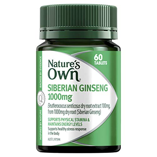 Nature's Own Siberian Ginseng 1000mg Tablet, Maintains Energy Levels and Physical Stamina, Supports Immune System Health, Mostly Green, 60 Count