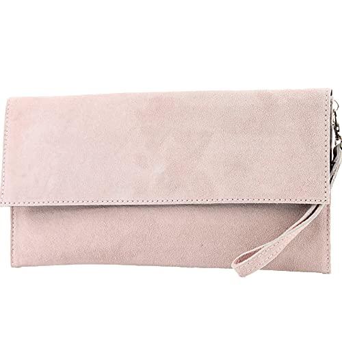 modamoda de - cuero italiano de embrague T151 Pequeño Gamuza, Color:Rosa beige oscuro