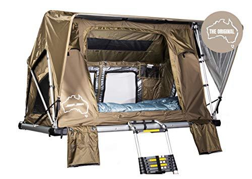 SHEEPIE® Jimba Jimba Auto-Dachzelt 2.0 Grün - Leichtes Aluminium Dachzelt - Wasserdicht - Hoher UV-Schutz - Campingzelt - Campingausrüstung - Bungalowzelt - Camping und Outdoor (Medium)