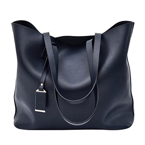 Longra Solid Color Moda donna artificiale retrò borsa borsa crossbody bag borsa tote bag benna Bag (Blu)