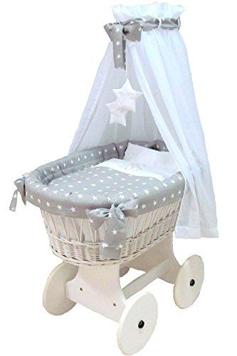 Babymajawelt® Stubenwagen Komplett Set 10 Teile, inkl. Matratze, Bollerwagen mit großen Räder (gummiert) (Stars grau)