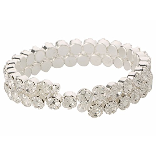 Efulgenz Silver Plated Cubic Zirconia Double Line Wrap Bracelet Bangle for Women and Girls Gift for Her