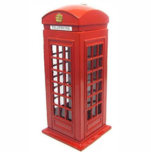 KAV Original britische englische Metalllegierung Geld Münze Ersatz Wechselgeld Piggy London Street Red Telefonzelle Bank Souvenir Modell Box Jar 6614 cm ca.