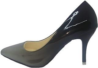 [ロイヤルパイン] ポインテッドトゥ エナメル パンプス レディース 美脚 グラデーション カラー ハイヒール コーンヒール ピンヒール 8cm 2色 5サイズ