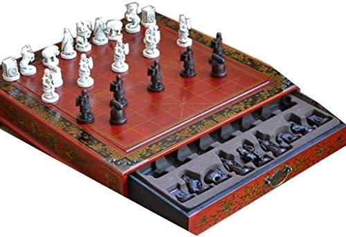 Conjuntos de tableros de ajedrez conjunto de ajedrez mesa de madera ajedrez juegos de ajedrez chino resina chessman navidad cumpleaños premium regalos entretenimiento juego juego de ajedrez juego yqaa