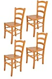 Tommychairs - Set 4 sillas Venice para Cocina y Comedor, Estructura en Madera de Haya...