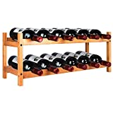 Riipoo Wine Rack, Countertop Wine Rack, Wine Storage Shelf, 12 Bottles Bamboo Wine Holder, 2 Tier