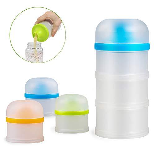 LEADSTAR Dispensadores de leche, BPA Free de Formula Dispenser, Apilable dispensador y Snack Contenedor, Bebé Portátil en Polvo Box para la enfermería nocturna/viajes al aire libre