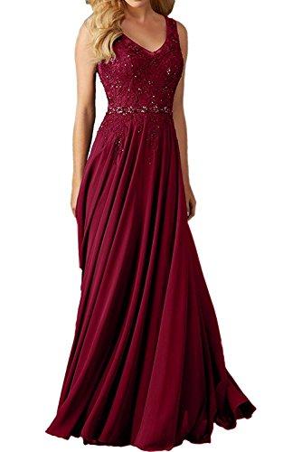 CLLA dress Damen Abendkleider Für Hochzeit Elegant Applikation Brautjungfer Kleider Ballkleider(Weinrot,44)