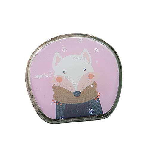 Fansi Fashion Girl Kontaktlinsen-Etui, kreatives süßes Cartoon-Muster, runde farbige Kontakte, Pflegebox, 1 Stück, PU, Fuchs, 7 * 6CM