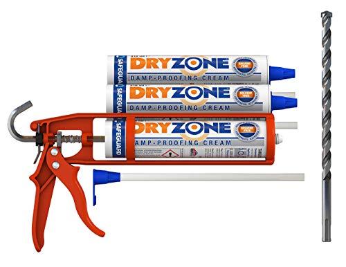 Dryzone Kit per impermeabilizzazione, 3 pezzi, crema a prova di umido da 310 ml, pistola per mastice Cox, punta per trapano Dryzone