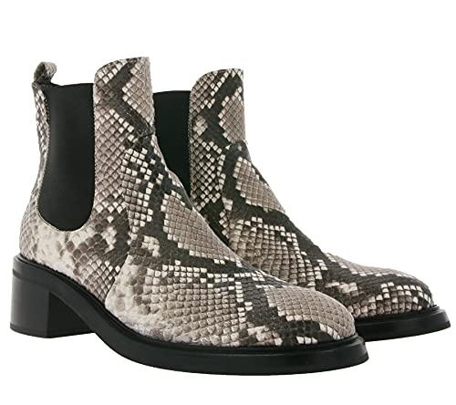 AGL Attilio Giusti Echtleder-Stiefel schicke Damen Schlangenoptik-Boots mit Schwerer Sohle Schuhe Stiefeletten Schwarz/Grau, Größe:40