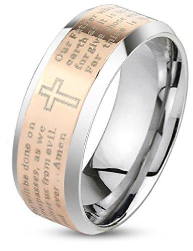 Artisan Owl Lord's Prayer Beveled Edge Stainless Steel Ring - Rose Gold Tone (8)