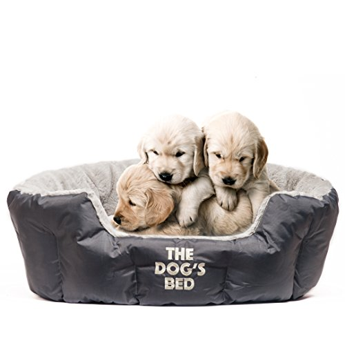 The Dog's Bed, Premium Plush Dog/Puppy Beds in Grey & Brown S/M/L, Fully...