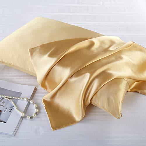 FLCA Funda de almohada de seda de morera 100% para cabello y piel, seda de morera a ambos lados, 1 unidad (champán, estándar 50 x 75 cm)