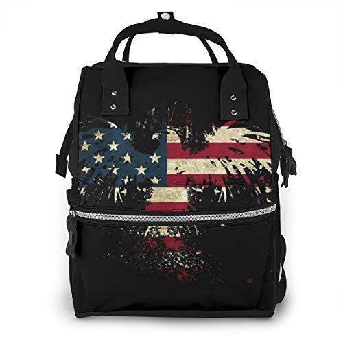 Abstract Eagle American Flag Baby Diaper Bag Backpack,Multi-Function Waterproof Large Capacity Travel Nappy Bags For Mom