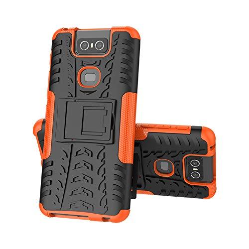 XMTON Asus Zenfone 6 ZS630KL,Zenfone 6z,Zenfone 6 2019 Hülle,2 in 1 Silikon TPU + PC Hardback Air Cushion Technologie Dual-Werksoff Handy Protictive Hülle Schutzhülle für Zenfone 6 ZS630KL (Orange)