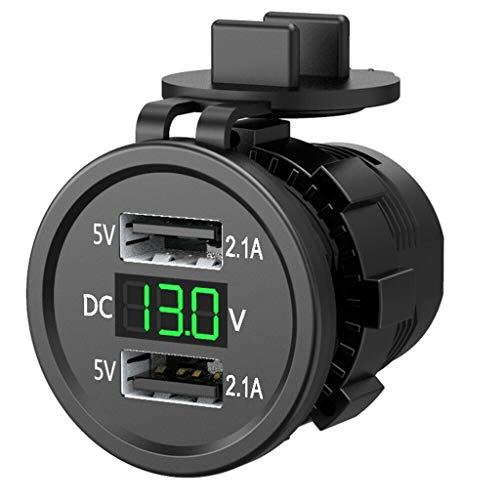 Morningmo - Adaptador de enchufe de cargador USB impermeable de 5 V 2,1 A con voltímetro para coche, barco, motocicleta, vehículos y motocicletas de 12 a 24 V