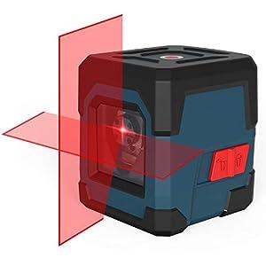 Nivel láser, RockSeed Cross Nivel láser Puntos Horizontales y verticales Giratorio 360 ° Nivel láser autonivelante de 3 vías con modo Manual/Autonivelante IP54 1M a Prueba de Golpes(batería incluida)
