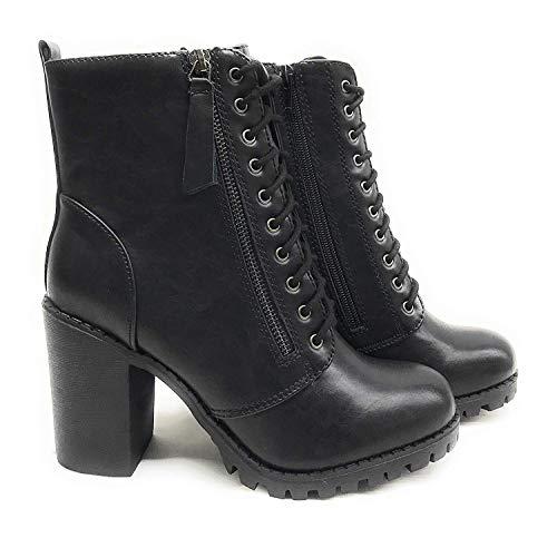 Soda Malia Round Toe Stacked Lug Heel Lace Up Ankle Booties,Black,10