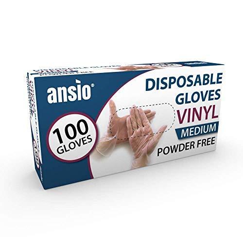 Item Name (aka Title): ANSIO Guantes de Vinilo Desechables sin Polvo de un Solo Uso, tamaño Mediano, Paquete de 100, M, 1