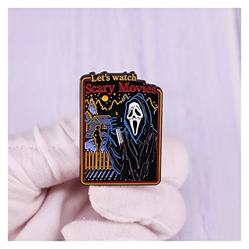 xczbb Broche Esmalte Pin Scream Ghost Face Brooch Horror Película Insignia Halloween