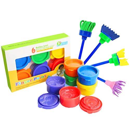 RetroFun Juego de 10 pinceles de esponja para dibujo para niños, arte graffiti, dibujo, pintura, juguete para niños, kit de pintura temprana para aprender a hacer bricolaje