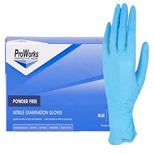 ProWorks GL-N135FL Disposable Glove, Exam Grade, 5 Mil Nitrile, 0.01' Height, 5' Wide, 9.5' Length, Large, Blue (Pack of 100)