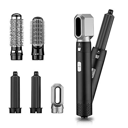 AWSXDC Secador de Pelo Eléctrico Secadora de Soplado Curlín de Pelo Cepillo Giratorio Secador de Pelo Herramientas de Peinado 5 en 1 Cepillo de Aire Caliente (Color : Black, Plug Type : UK Plug)