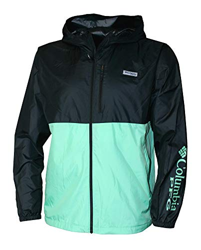 Columbia Men's PFG Morning View Omni Shade UPF 40 Hooded Full Zip Jacket (Grren/Black, XXL)