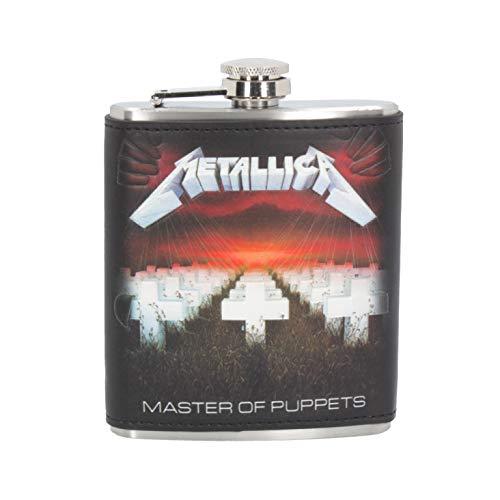 Nemesis Now Metallica Master of Puppets Fiaschetta da 198,4 g, in PU/acciaio inossidabile, nero, 12,5 cm