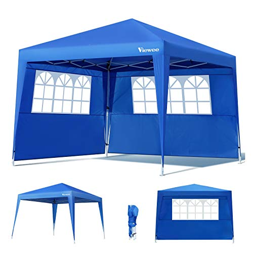 Viewee Carpa Plegable 3x3 Impermeable, Cenador Plegable, 3 Regulables en Altura, 2 Paredes Laterales con Ventanas, Protector Solar UV50 +, Utilizado para Jardín, Playa, Fiesta, etc