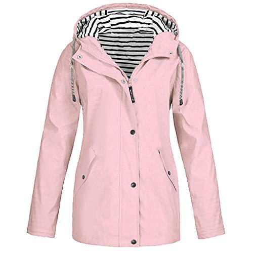 OverDose Damen Winter Sport Style Solide Regenjacke Outdoor Plus Jacken Wasserdichter Regenmantel mit Kapuze Windproof Light Funktionsjacke Open Jacke (T-a-Rosa,EU-42/CN-XL)