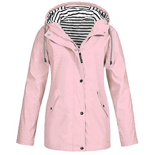 OverDose Damen Winter Sport Style Solide Regenjacke Outdoor Plus Jacken Wasserdichter Regenmantel mit Kapuze Windproof Light Funktionsjacke Open Jacke (T-a-Rosa,EU-42/CN-XL)