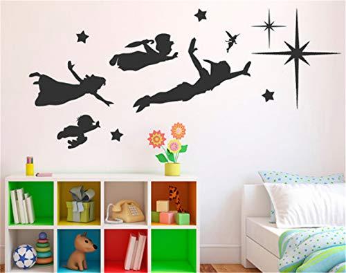 pegatina de pared etiqueta de la pared decoración Dibujos animados famosos Peter Pan, bebé para habitaciones de niños
