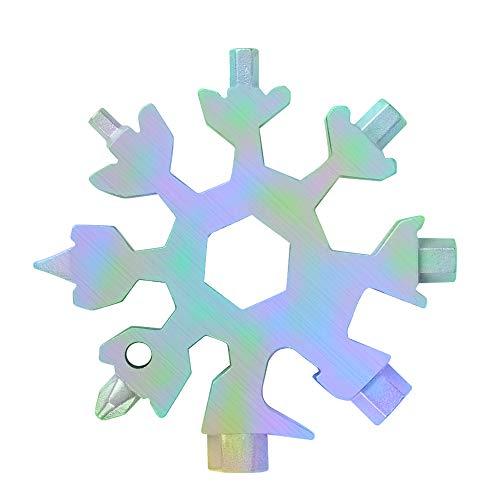 MAEXUS 18-in-1 Schneeflocken Multitool,Edelstahl Schneeflocken Flaschenöffner, flacher Kreuzschlitzschraubendreher-Kit, Schraubenschlüssel, Gadgets für Männer,Weihnachtsgeschenke