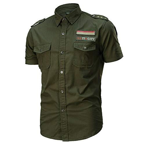 JINSHI Hombre Camisa Casual de Estilo Militar Chaqueta Leñador de Manga Corta 100% Algodón Verde del ejército Large