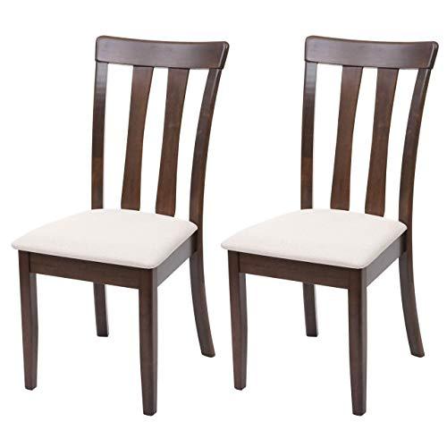 Mendler Set 2X sedie Cucina HWC-G46 Legno massello Struttura Scura Cuscino Beige