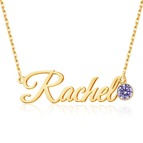Custom Name Necklace Personalized, 18K Gold Plated Name Necklace with Birthstone Customized Necklace Gift for Women