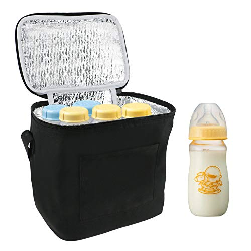 Breast Milk Baby Bottle Cooler Bag, Homga Breastmilk Insulated Cooler Tote Storage w/Air Tight Lock in The Cold & Preserve Important Nutrients (Fits up to 6 Large 8Oz. Bottles) (8.35.97.5in)